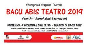 Per Carbonia 80, domenica pomeriggio, a Bacu Abis, musica e teatro per ragazzi.
