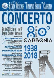 Nell'ambito dei festeggiamenti per l'80° compleanno della città di Carbonia, sabato sera, alle ore 19.00 al Teatro Centrale, si terrà il concerto della Banda Musicale Vincenzo Bellini di Carbonia e del trio composto da Matteo Scano, Fabio Bellia e Andrea Tuveri.
