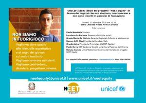 """Giovedì 13 dicembre, al Teatro Centrale di Carbonia, verrà presentato il progetto dell'Unicef """"Neet Equity""""."""