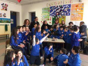 """Si è svolta questa mattina,presso la scuola primaria Ciusa di via Lombardia e in piazza Rinascita, aCarbonia, l'iniziativa""""Cancro, io ti boccio""""."""