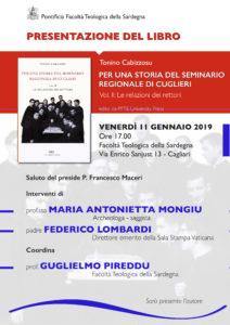"""Venerdì 11 gennaio, a Cagliari, verrà presentato il secondo volume di """"Per una storia del Seminario Regionale di Cuglieri (1927-1971)""""."""