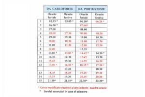 L'11 febbraio entreranno in vigore i nuovi orari invernali sulla linea Carloforte/Portovesme.