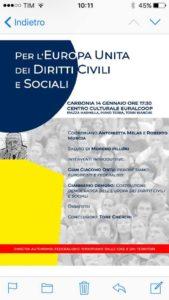 """""""Per l'Europa Unita dei Diritti Civili e Sociali"""", è il tema dell'incontro in programma questa sera nella sala riunioni del Circolo Soci Euralcoop, a Carbonia."""