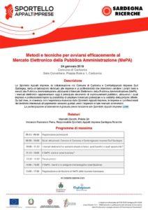 Giovedì 24 gennaio, nella sala polifunzionale del comune di Carbonia, si terrà un incontro sul mercato elettronico della Pubblica Amministrazione.