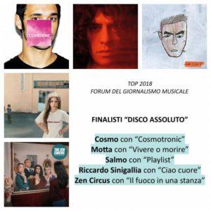 """Cosmo, Motta, Salmo, Sinigallia e Zen Circus sono i finalisti della """"Top 2018"""" del """"Forum del giornalismo musicale""""."""