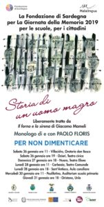 Lunedì 28 gennaio l'Amministrazione comunale di Carbonia celebrerà la Giornata della Memoria con uno spettacolo al Teatro Centrale.