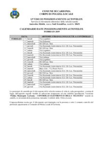 Il calendario delle postazioni autovelox della Polizia locale del comune di Carbonia per il mese di febbraio 2019.