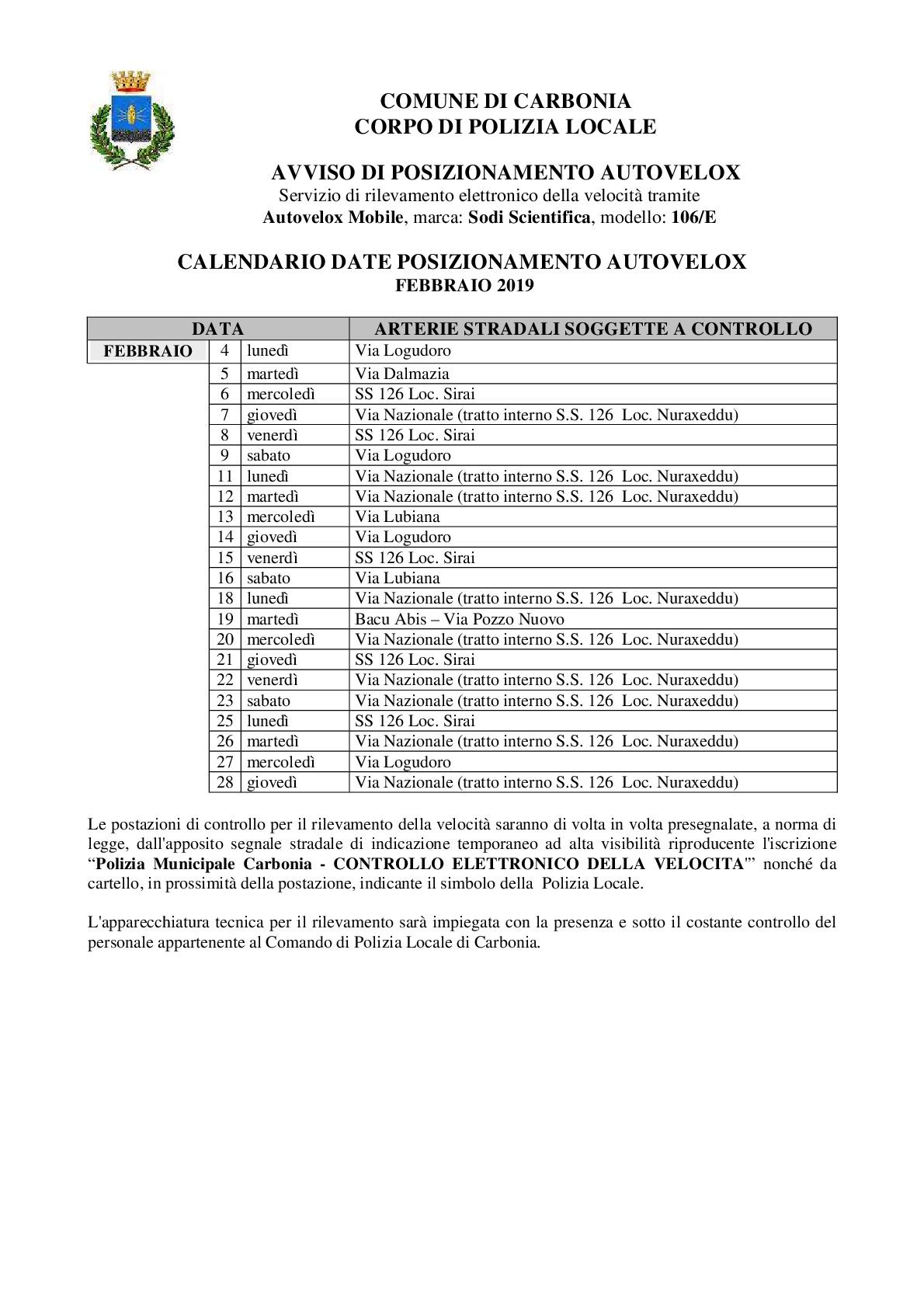 Primavera Sulcitana 2020 Calendario.Il Calendario Delle Postazioni Autovelox Della Polizia