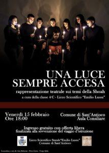 """La IV C del Liceo Emilio Lussu di Sant'Antioco ricorda la Shoah con la rappresentazione teatrale dal titolo """"Una Luce sempre accesa""""."""
