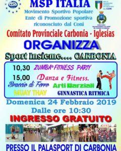"""Domenica 24 febbraio, al Palazzetto dello sport di Carbonia, va in scena la 9ª edizione di """"Sport insieme…Carbonia""""."""