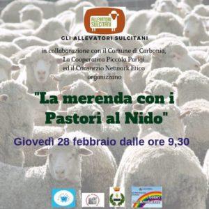 """Giovedì 28 febbraio, si terrà a Carbonia, l'evento """"La merenda con i pastori al nido""""."""