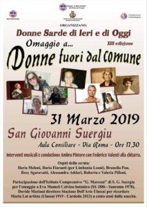 """Alle 17.30, a San Giovanni Suergiu, la 13ª edizione di """"Donne Sarde di Ieri e di Oggi – Omaggio … Donne fuori dal Comune""""."""