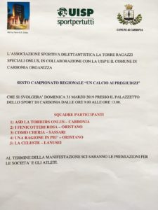 """Domenica 31 marzo il Palazzetto dello Sport di Carbonia ospiterà il 6° campionato regionale di calcio a 5 """"Un calcio ai pregiudizi""""."""