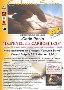 """Verrà presentato venerdì 5 aprile, nell'ambito della rassegna """"Carbonia Scrive"""", il libro """"Dall'ENEL alla CARBOSULCIS"""", di Carlo Panio."""
