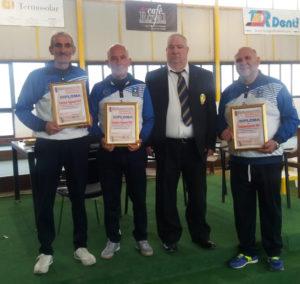 La terna del Circolo Comunale di Carbonia composta da Bruno Manca, Efisio Saiu e Fabrizio Sabiu si sono laureati campioni regionali di bocce categoria C.