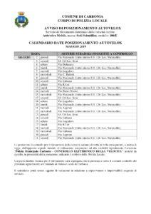 Il calendario delle postazioni autovelox disposte dal comune di Carbonia per il mese di maggio 2019.
