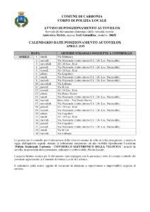 Il calendario delle postazioni autovelox previste nel mese di aprile 2019 nel comune di Carbonia.