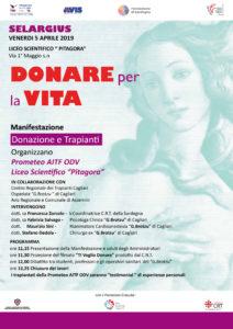 """Venerdì 5 aprile la Prometeo AITF ODV farà visita al Liceo """"Pitagora"""" di Selargius per sensibilizzare i suoi studenti sulla donazione e sul trapianto di organi."""
