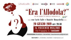 """Giovedì sera, al Vecchio Mulino di Sassari, andrà in scena """"Era l'allodola?"""", lo spettacolo scritto diretto ed interpretato da Daniele Monachella e Carlo Valle."""