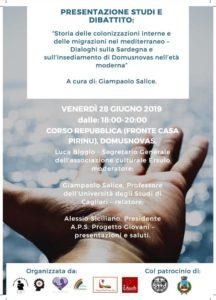 Si parlerà di fenomeni migratori e coloniali in Sardegna venerdì 28 giugno, a Domusnovas, con il prof. Giampaolo Salice.