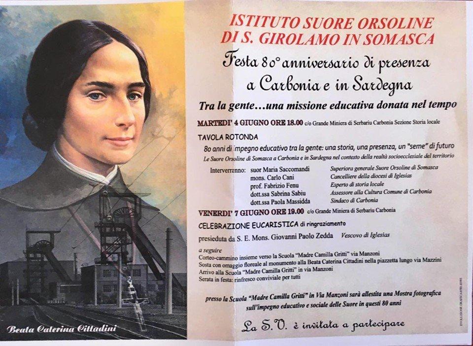 Venerdì 7 giugno la messa celebrata dal vescovo di Iglesias e la processione per festeggiare l'80esimo della presenza a Carbonia delle suore Orsoline di San Girolamo di Somasca.