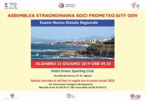 Alghero ospiterà domenica 23 giugno l'assemblea dei soci della Prometeo AITF ODV per l'approvazione del nuovo Statuto.