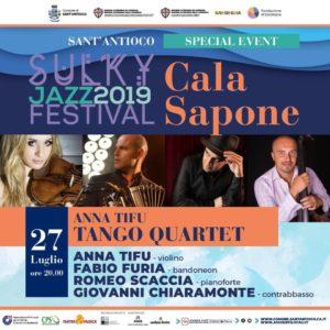 Anna Tifu in concerto sabato sera a Cala Sapone, accompagnata daRomeo Scaccia, Fabio Furia e Giovanni Chiaramontecon i quali forma il Tango Quartet.