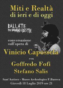Vinicio Capossela a Sant'Antioco, il 18 al MAB ed il 19 luglio in concerto all'Arena Fenicia.