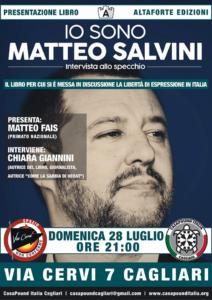 """Domenica sera, a Cagliari, verrà presentato il libro """"Io sono Matteo Salvini. Intervista allo specchio"""", di Chiara Giannini."""
