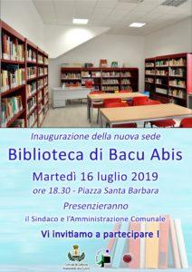 Dopo 7 anni, martedì 16 luglio riapre la biblioteca comunale di Bacu Abis.