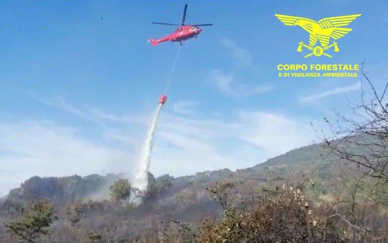 Un elicottero del Corpo forestale sta intervenendo su un incendio sviluppatosi nelle campagne di Bolotana.