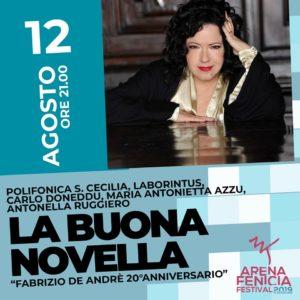 Antonella Ruggiero nei capolavori di Fabrizio De Andrè con'La Buona Novella', il 12 agosto, all'Arena Fenicia di Sant'Antioco.