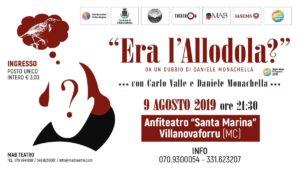 """""""Era l'allodola?"""", lo spettacolo vincitore del premio come miglior attore protagonista al """"Roma ComicOFFFestival 2018"""", farà tappa venerdì 9 agosto, a Villanovaforru."""