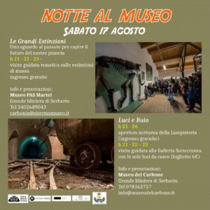 """Sabato 17 agosto 2019, alla Grande Miniera di Serbariu, sarà """"Notte al Museo""""."""