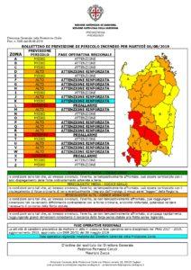Allerta incendi di colore rosso nel Sulcis Iglesiente per la giornata di martedì 6 agosto.