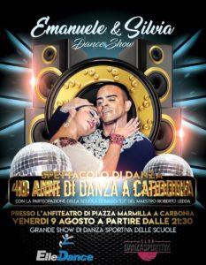 """Venerdì 9 agosto, alle 21.30, l'anfiteatro di Piazza Marmilla, a Carbonia, ospiterà lo spettacolo di danza """"Emanuele&Silvia Dance Show""""."""