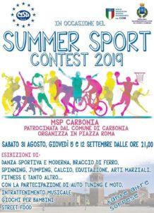 """Sabato 31 agosto, alle 21.00, in piazza Roma, a Carbonia, si terrà il """"Carbonia Summer Sport Contest 2019""""."""