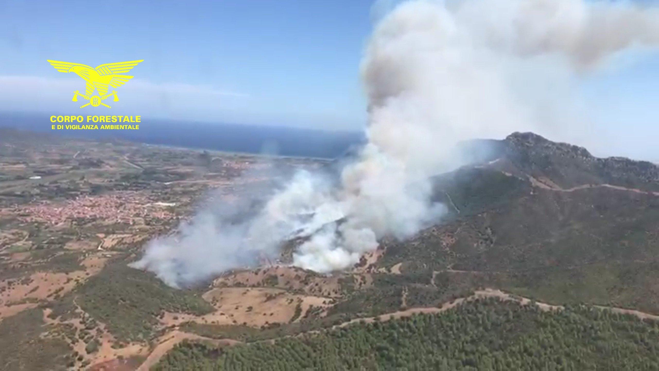 4 Canadair e 3 elicotteri, tra i quali il Super Puma, sono impegnati nello spegnimento di un vasto incendio a Torpe'.