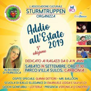 """Il Parco di Villa Sulcis ospiterà sabato sera la """"Festa di fine estate 2019"""", dedicata ai bambini, con giochi, spettacoli di animazione e danze."""