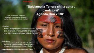 """Lunedì 9 settembre si terrà a Cagliari il convegno """"Salviamo la Terra e chi la abita. Laudato sì. Agenda ONU 2030""""."""