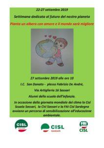 """La CISL Scuola di Sassari sostiene le iniziative di """"Emergenza climatica""""."""