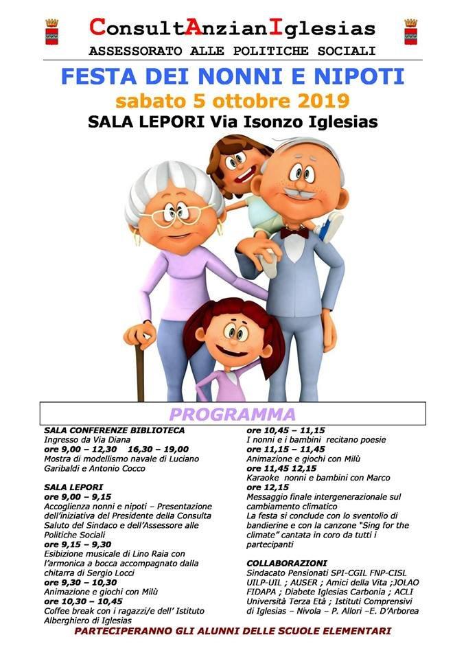 Sabato 5 ottobre la Sala Lepori di Iglesias ospiterà la Festa dei nonni e dei nipoti.