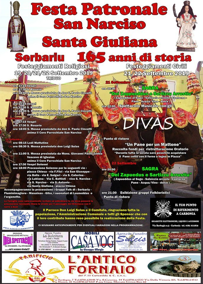 Sabato 21 e domenica 22 settembre Serbariu festeggia San Narciso e Santa Giuliana.