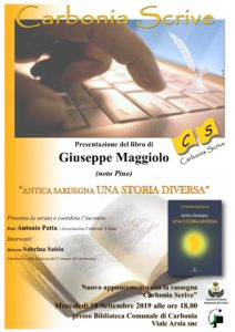 """Mercoledì 18 settembre, nell'ambito della rassegna """"Carbonia scrive"""", verrà presentato il libro """"Antica Sardegna: una storia diversa"""", di Giuseppe Maggiolo."""