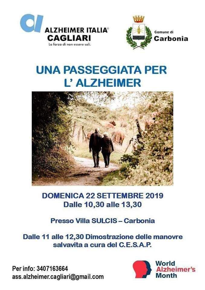 Domenica mattina, al Parco di Villa Sulcis, a Carbonia, si terrà un'iniziativa di informazione e sensibilizzazione sul morbo di Alzheimer.