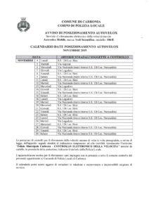 Il calendario delle postazioni autovelox del comune di Carbonia per il mese di novembre 2019.