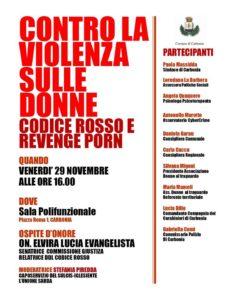"""Domani, venerdì 29 novembre, la sala polifunzionale del comune di Carbonia ospiterà un incontro su """"Codice rosso"""" e """"Revenge porn""""."""
