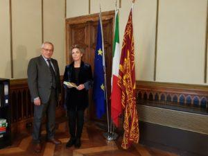 Il presidente della Fondazione del Cammino Minerario di Santa Barbara è stato ricevuto a Venezia dalla direttrice della sede italiana del Consiglio d'Europa.