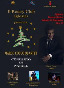 Il Rotary Club di Iglesias ha organizzato il concerto di Natale del quartetto swing di Marco Cocco per raccogliere fondi per l'acquisto di defibrillatori da donare alla scuole cittadine.