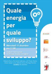 """""""Quale energia per quale sviluppo?"""": mercoledì 11 dicembre un dibattito a Cagliari."""